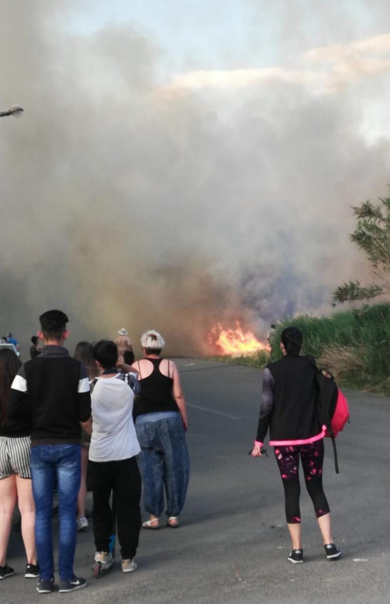 Veïns i curiosos s'han apropat per veure les flames.