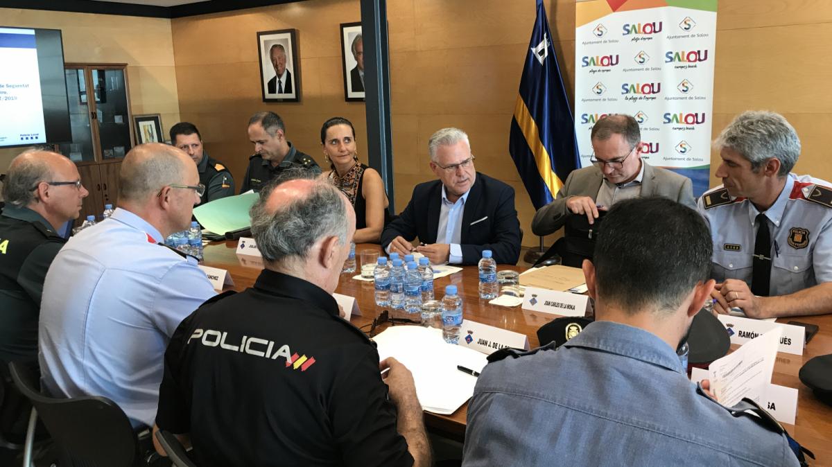 La Junta Local de Seguretat, reunida aquest dimecres a la tarda a l'Ajuntament de Salou.