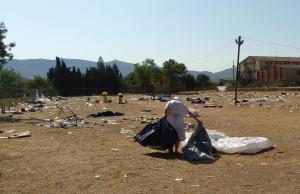 48 hores després d'acabar l'Acampada Jove, els terrenys que ha acollit el festival presentaven aquest aspecte