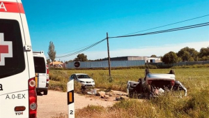 El estado del vehículo siniestrado en la N-432, a la altura de Badajoz