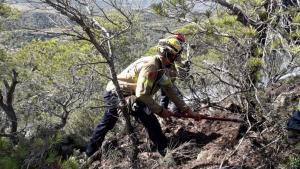 Els Bombers han treballat durant una hora fent tasques manuals en una zona de difícil accés a La Picossa, a Móra d'Ebre.