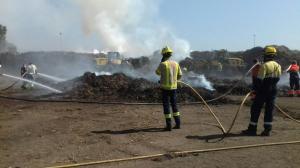 Els Bombers treballen per extingir les flames d'un incendi a Botarell