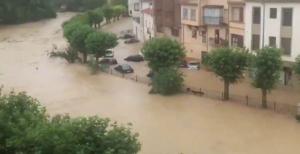 Imagen de la avenida del río Cidacos en Tafalla