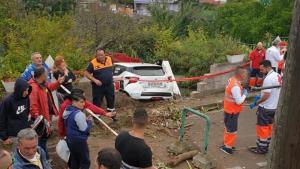Imagen del accidente durante el Rally Ciudad de la Laguna