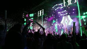 Imagen del concierto de la orquestra Panorama en las fiestas de Santa Marta