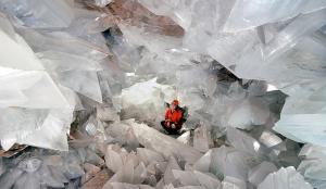 Imagen del geoda gigante de yesos de Pulpí