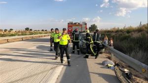 Imagen del operativo de auxilio tras el accidente