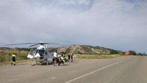 Imagen del operativo de rescate para trasladar a la víctima