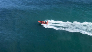 Imatge de la llanxa LS Calipso de Salvament Marítim que va participar en el rescat a la Punta de la Móra