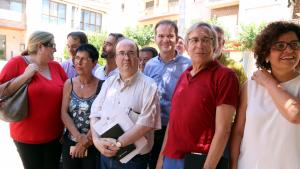 Imatge de Miquel Iceta, primer secretari del PSC amb altres representants territorials del partit, en la seva visita a Flix