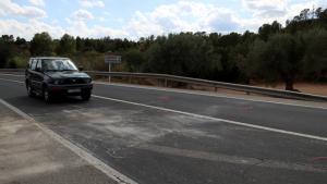 Imatge del punt quilomètric on es va produir l'accident mortal causat pel xoc frontal de dos vehicles al terme municipal de Xerta