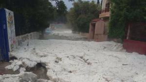 Imatge dels efectes de les fortes pedregades a Grècia