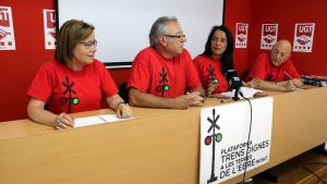 Imatge dels portaveu de la plataforma Trens Dignes, en la roda de premsa a la seu d'UGT