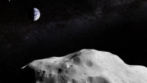 Imatge d'una simulació d'un asteroide dirigint-se a la Terra