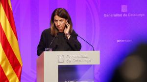 La consellera de presidència de la Generalitat, Meritxell Budó, durant una roda de premsa