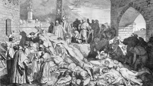 La pandemia de peste negra asoló Europa en la Edad Media, especialmente entre 1347 y 1351.