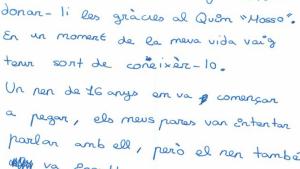 L'emotiva carta inclou frases com: «els meus pares van intentar parlar amb ell, però el nen també va insultar als meus pares»