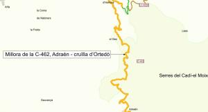 Plànol de les carreteres C-462 entre Adraén i la cruïlla d'Ortedó