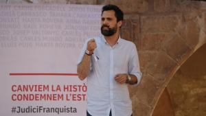 Roger Torrent, en l'atenció als mitjans després de l'acte polític de l'Acampada Jove a Montblanc