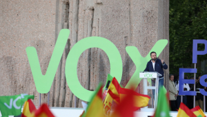 Santiago Abascal en el míting final de VOX a Madrid