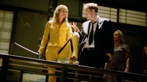 Tarantino dando directrices a Thurman en 'Kill Bill' (2003)
