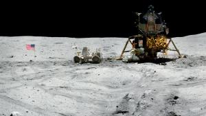 Una de les noves panoràmiques publicades de l'arribada dels astronautes a la Lluna.