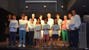 Una imatge de la canalla guanyadora dels premis, el passat dissabte a la Sala del Mar.