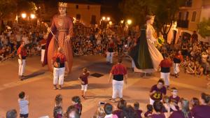 Una imatge de la Desvetlla dels Gegants, un dels actes de la Festa Major de Santa Rosalia de Torredembarra.