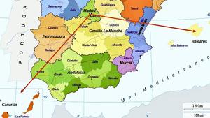 Con este mapa comparaba la distancia entre Madrid, Canarias y Baleares