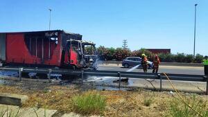 El camió afectat pel foc