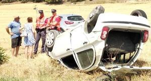 El coche quedó en este estado tras volcar