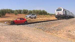 Imagen del accidente en la línea Madrid-Zafra