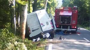 Imagen del accidente ocurrido en la N-135, en Burguete
