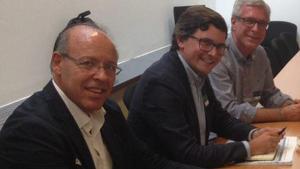 Imatge de la reunió amb els diputats d'En Comú Podem.