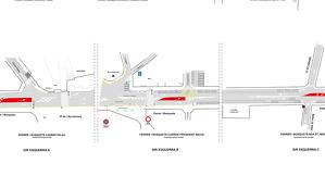 Imatge del plànol de la reordenació del trànsit prevista a l'N-II al tram urbà de Mollerussa