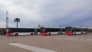 Imatge dels autobusos articulats de l'EMT, durant la seva presentació el passat mes de març.