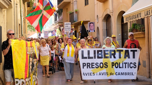 La manifestació d'aquest dimecres, 14 d'agost, ha aplegat unes 150 persones.