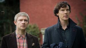 Los protagonistas de 'Sherlock': Martin Freeman y Benedict Cumberbatch