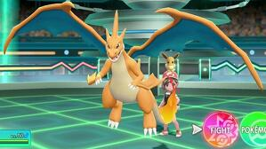 Mega-Charizard en combate de 'Pokémon Let´s Go'