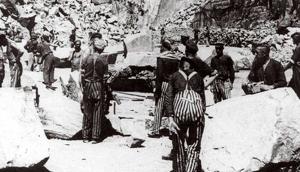 Presos espanyols treballant en una mina del camp de Mauthausen