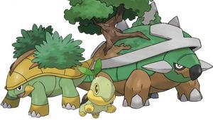 Turtwig, y sus dos evoluciones, Grottle y Torterra