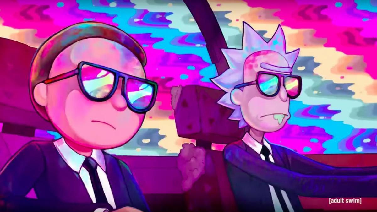 Morty y Rick, parodiando a 'Men in Black'