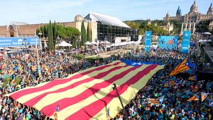 Acte final de la manifestació de la diada a Plaça Espanya a Barcelona
