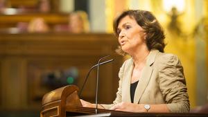 Carmen Calvo en una compareixença al Congrés
