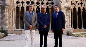 El president de la Diputació, Joan Talarn, l'alcalde de Lleida, Miquel Pueyo, i el delegat del Govern, Ramon Farré