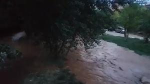 El río Turia desbordado en la altura de Teruel