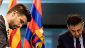Gerard Piqué i Josep Maria Bartomeu parlaran de les declaracions del jugador