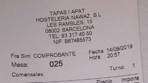 Imagen de la factura que le dieron al cliente por sus consumiciones