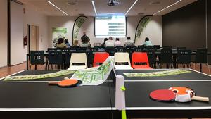Imatge de la presentació dels Jocs Empreses que s'ha dut a terme aquest dimecres, 18 de setembre, a firaReus