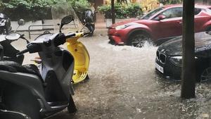 Imatge de les inundacions a la ciutat de Barcelona